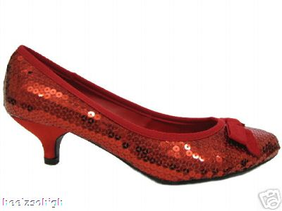 f87d6e4be8d NEW RED SEQUIN KITTEN HEEL BOW COURT SHOES SIZE UK 4 Buy Online