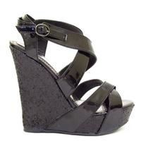View Item BLACK GLITTER LADIES PLATFORM WEDGE SHOES SIZES 3-8
