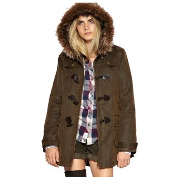 LADIES NEW ASOS WAXED KHAKI FAUX-FUR LINED DUFFLE COAT SIZES 6-18 ...