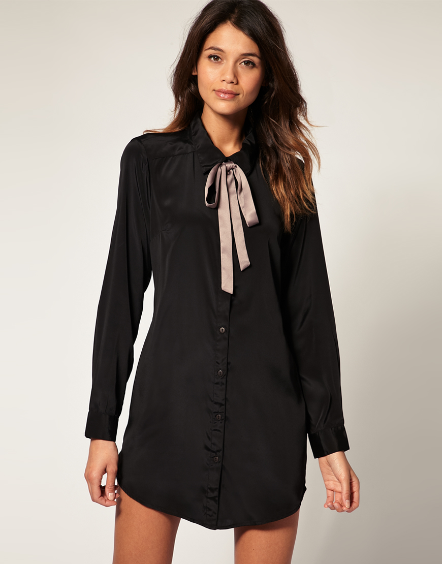 Ladies asos vero moda black grey tie neck shirt womens for Dark grey shirt dress