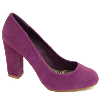 LADIES PURPLE BLOCK HEEL SECRETARY ROUND TOE COURT SHOES WOMENS ...