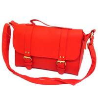 View Item LADIES RED DOUBLE BUCKLE SATCHEL WOMENS OVER-SHOULDER HAND-BAG