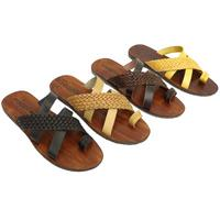 View Item MENS LEATHER CASUAL SLIP-ON CROSS STRAP TOE-POST SUMMER SANDALS SHOES SIZES 6-12