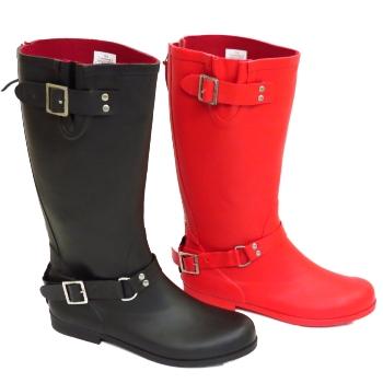 57b4c0a208cc WOMENS BLACK OR RED WIDE CALF BIKER ZIP-UP WELLINGTON RUBBER RAIN ...