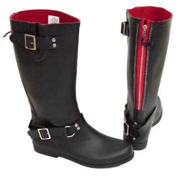 e254d93a3fae8 WOMENS BLACK OR RED WIDE CALF BIKER ZIP-UP WELLINGTON RUBBER RAIN ...
