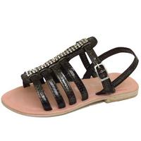 View Item GIRLS KIDS PEWTER LEATHER FLAT DIAMANTE GLADIATOR SANDALS SUMMER SHOES SIZES 7-3