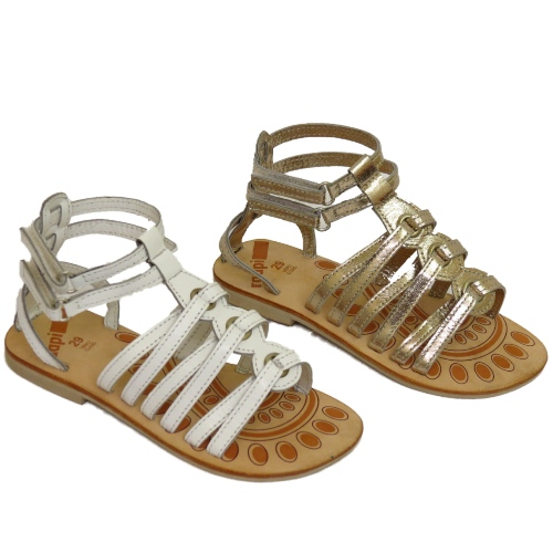 5f2347aead5 GIRLS KIDS WHITE OR PLATINUM LEATHER FLAT GLADIATOR SANDALS SHOES ...