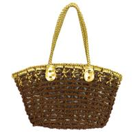 View Item BROWN GOLD LADIES WOVEN OVER-SHOULDER BEACH SHOPPER WOMENS HAND-BAG
