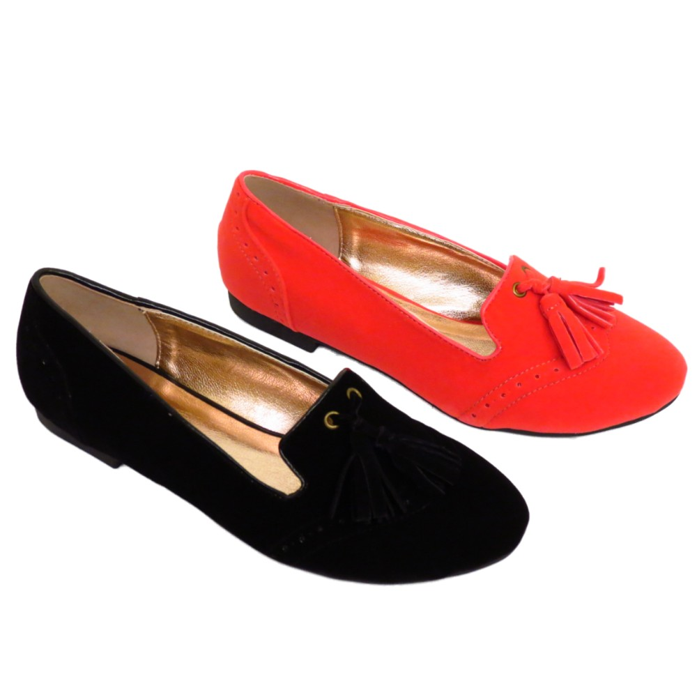 dfde62bec9d LADIES BLACK OR CORAL SLIP-ON WOMENS FLAT TASSLE LOAFERS PUMPS SHOES ...