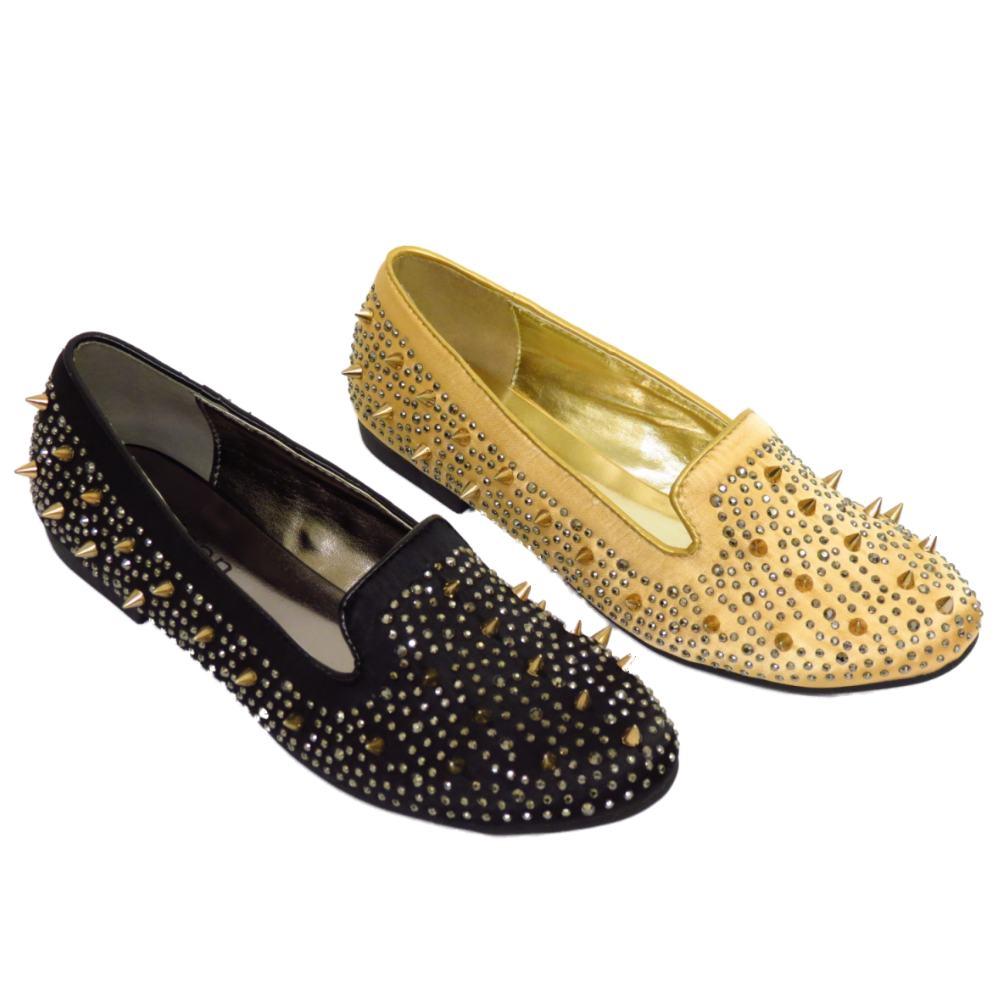 LADIES GOLD OR BLACK SLIP-ON SATIN FLAT STUD PUMPS WOMENS ...