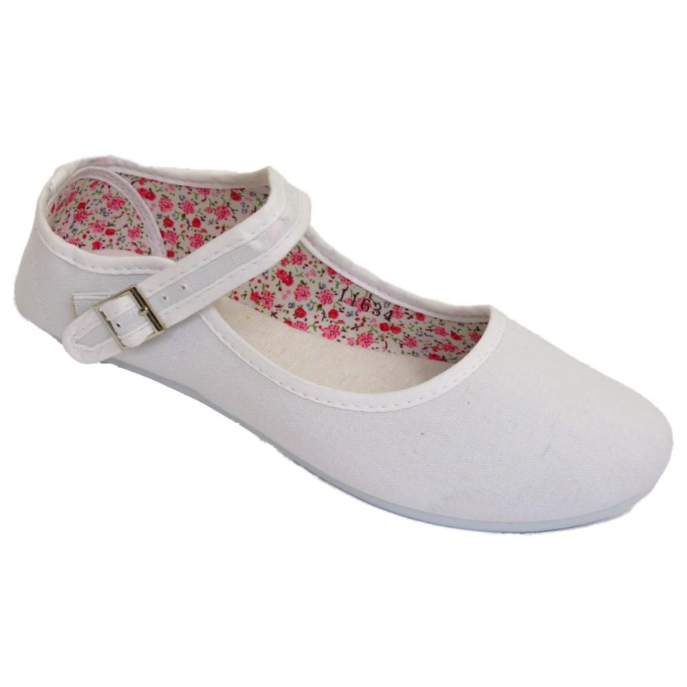 481a016eef2 WOMENS WHITE BUCKLE FLAT BALLET BALLERINA LADIES SUMMER PUMPS SHOES ...