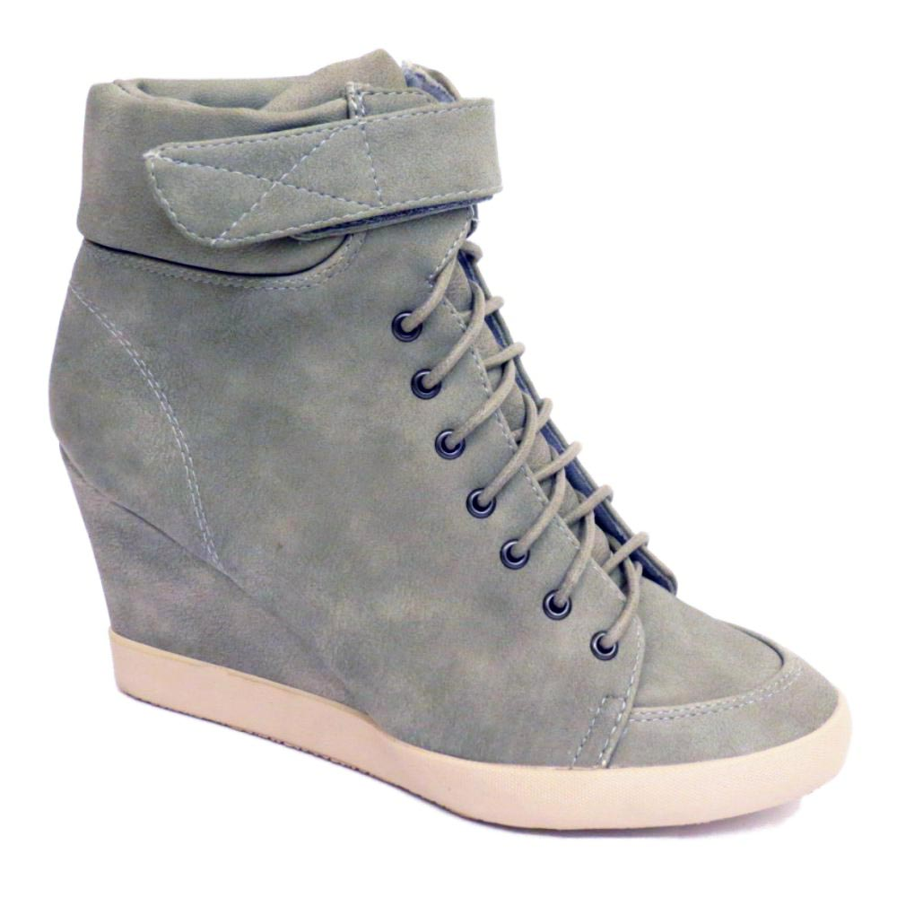 WOMENS PEBBLE GREY LACE-UP VELCRO
