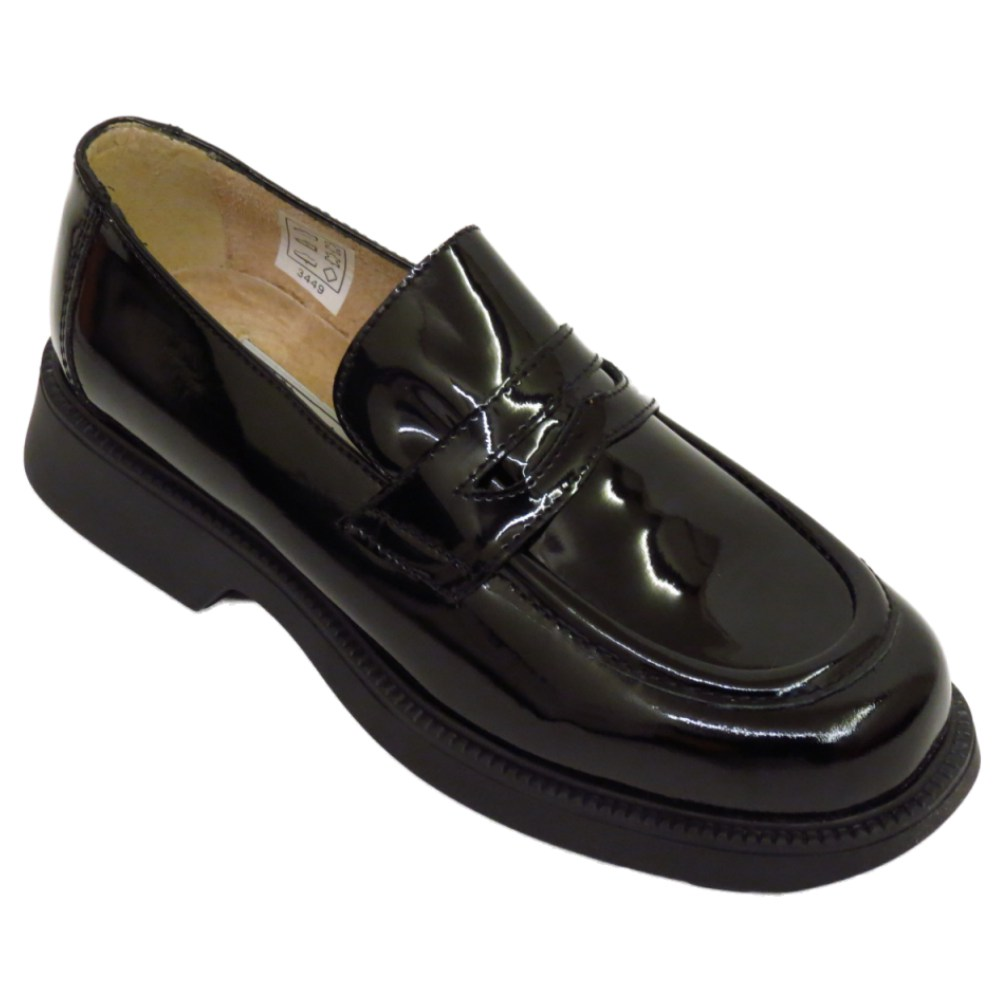 35901c5a657 WOMENS BLACK PATENT LEATHER LOAFERS SLIP-ON FLAT BROGUES LADIES ...