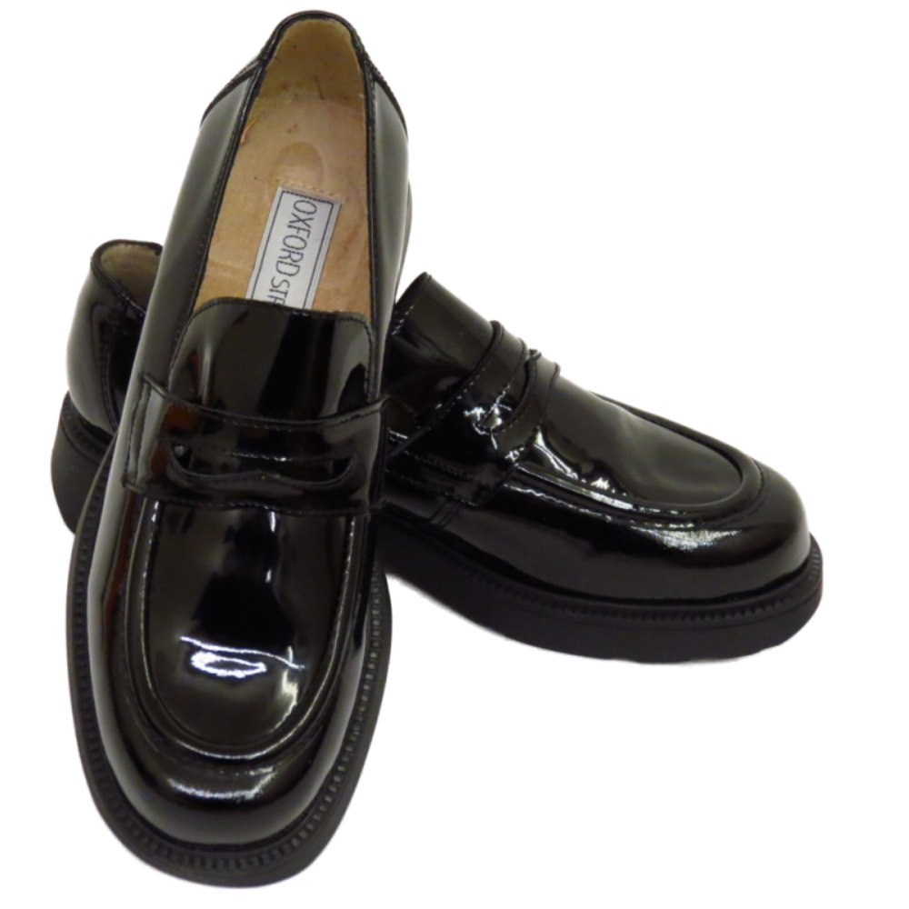749964e3526 WOMENS BLACK PATENT LEATHER LOAFERS SLIP-ON FLAT BROGUES LADIES ...