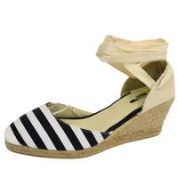 View Item LADIES NAVY NAUTICAL STRIPE HESSIAN SUMMER CANVAS WEDGE PUMPS SHOES SIZES 3-8