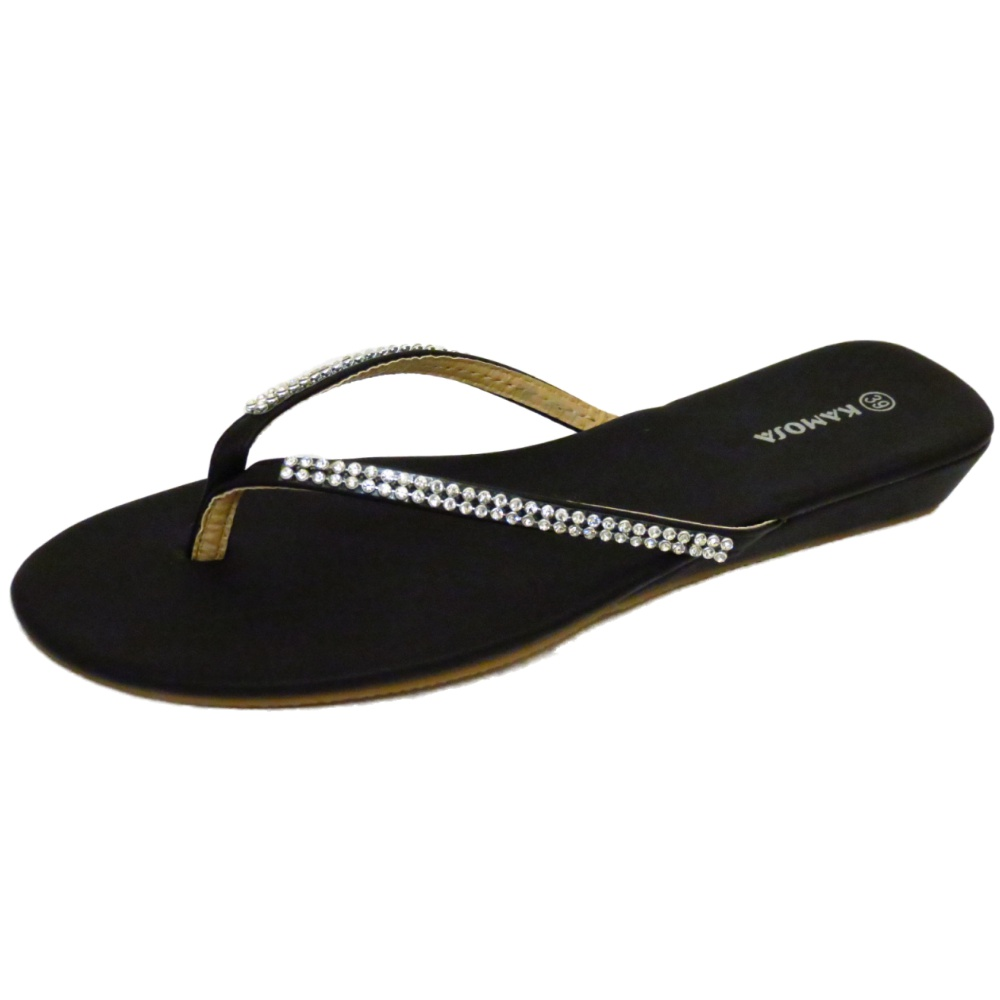 d4f2c45c73db0d LADIES BLACK LOW WEDGE TOE-POST DIAMANTE SUMMER SANDALS FLIP-FLOPS SIZES 3-