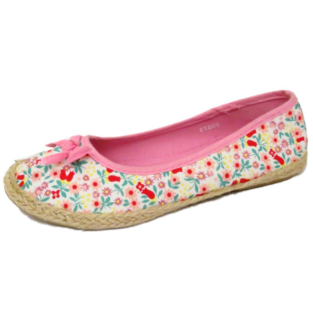 Girls Kids Slip On Pink Flower Floral Pumps Dolly Canvas Flat Shoes