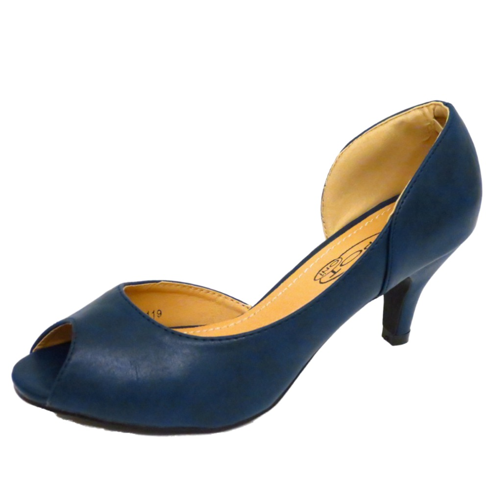 37306d14ec47 LADIES NAVY PEEP-TOE SLIP-ON KITTEN MID HEEL SMART COURT WORK SHOES SIZES