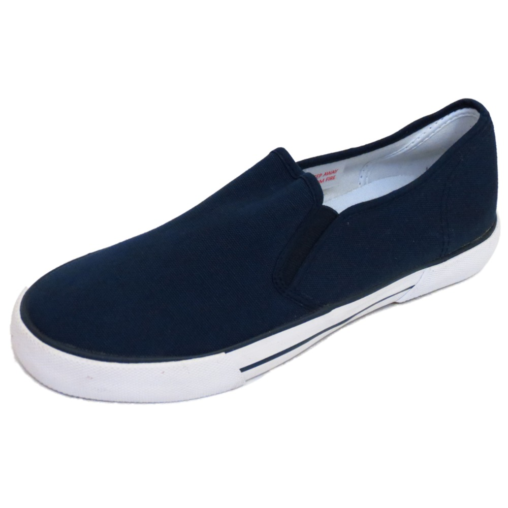 0a159e1f891 MENS NAVY SLIP-ON CANVAS PUMPS PLIMSOLLS FLAT TRAINER CASUAL SHOES ...