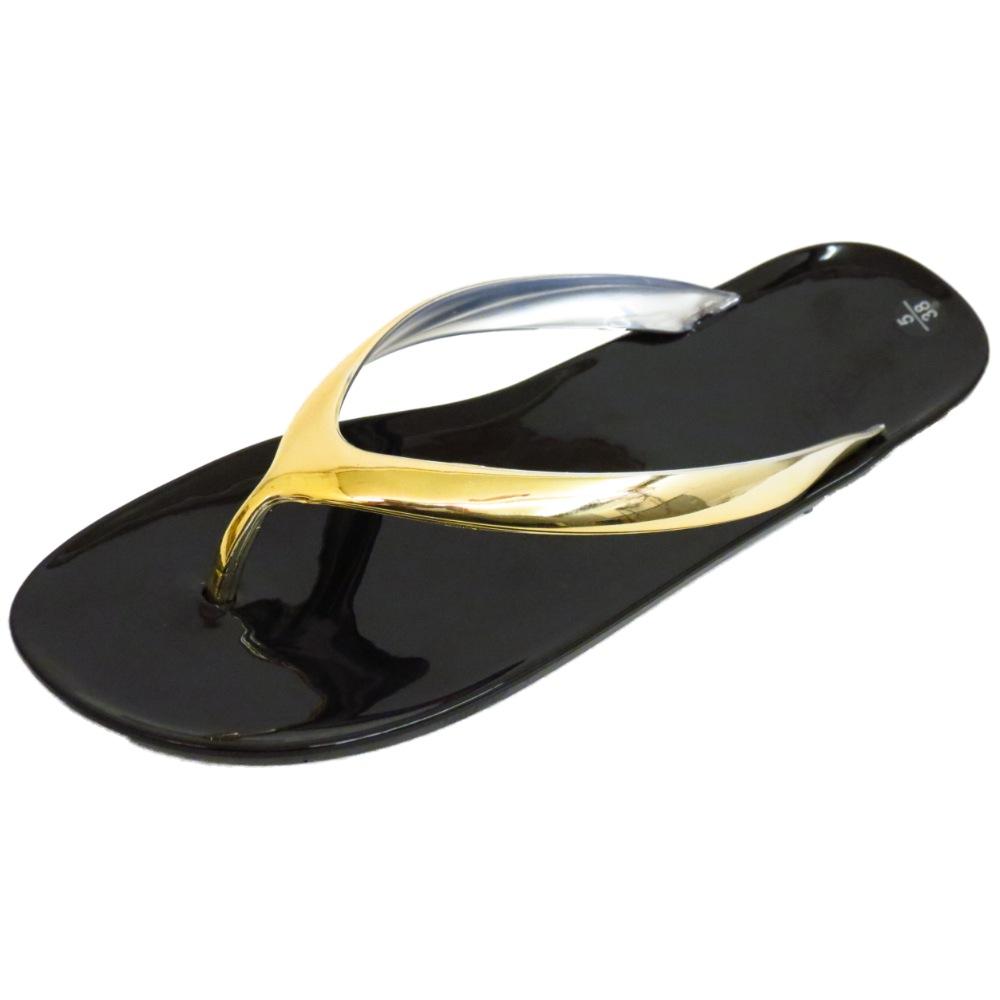 b88c5670e1f12d LADIES BLACK GOLD FLAT TOE-POST SUMMER SANDALS FLIP-FLOP SHOES PUMPS ...