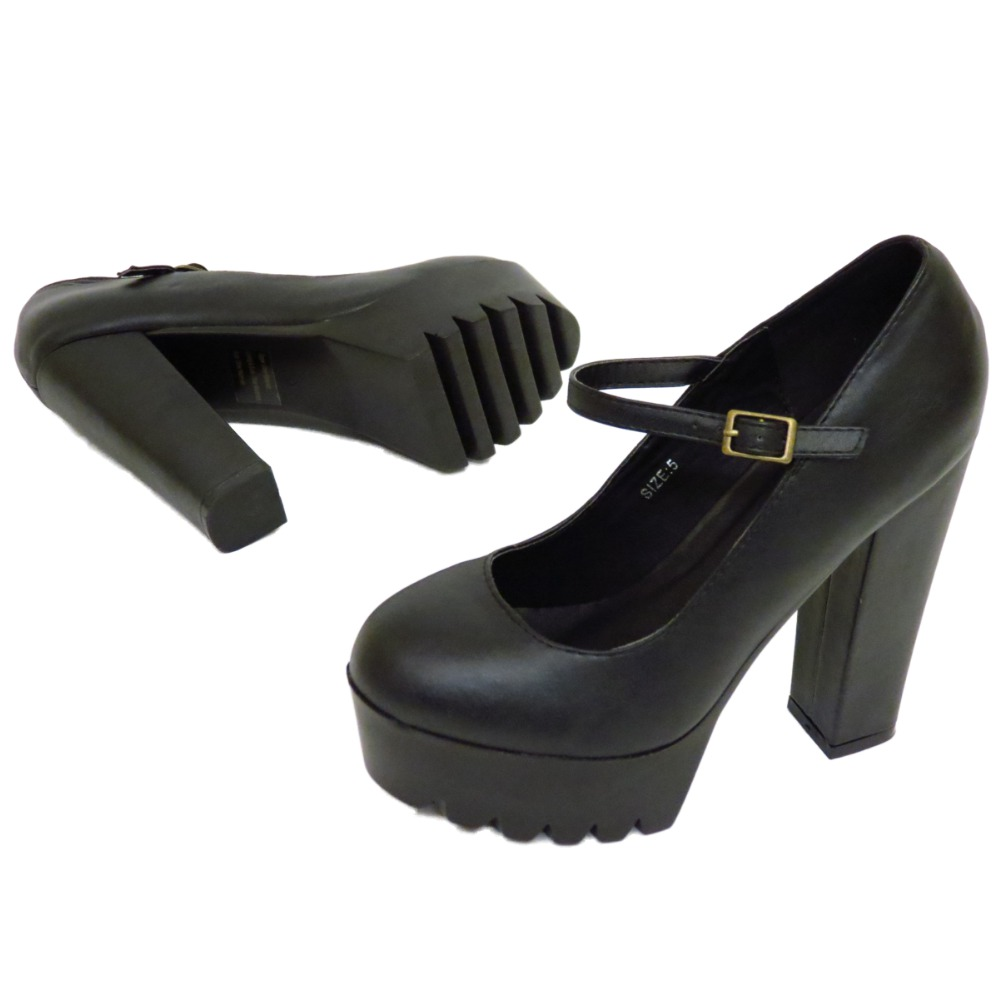 Ladies Dolcis Black Chunky Platform Cleated Ankle Strap Court ...