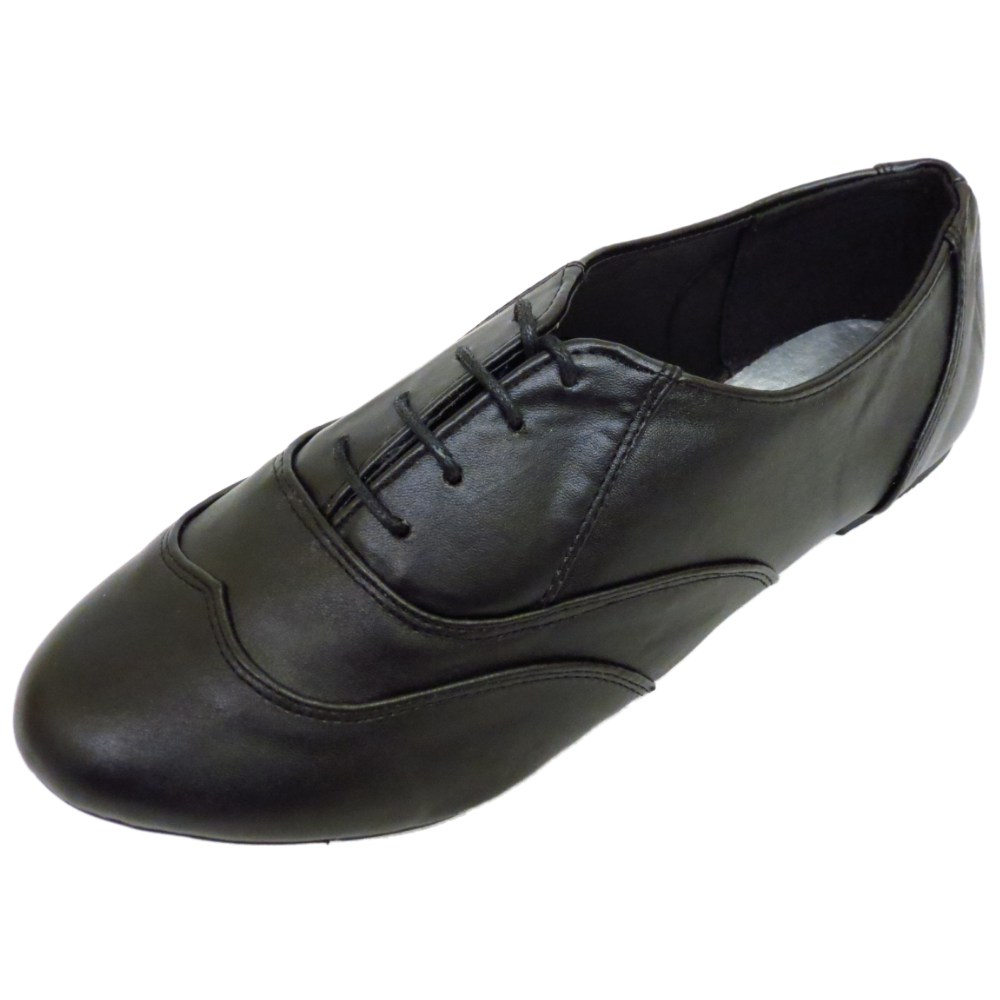 Ladies Black Leather Flat Shoes Uk