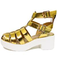 View Item LADIES GOLD DOLCIS CHUNKY GLADIATOR PLATFORM SUMMER SANDALS SHOES SIZE 3-8