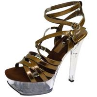 View Item LADIES BRONZE PLATFORM POLE EXOTIC DANCING STILETTO HEELS STRAPPY SHOES SIZE 3-8