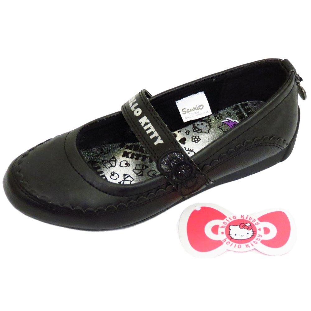 ab5b15df5 GIRLS KIDS HELLO KITTY BLACK SLIP-ON SCHOOL PUMP DOLLY SMART FLAT ...