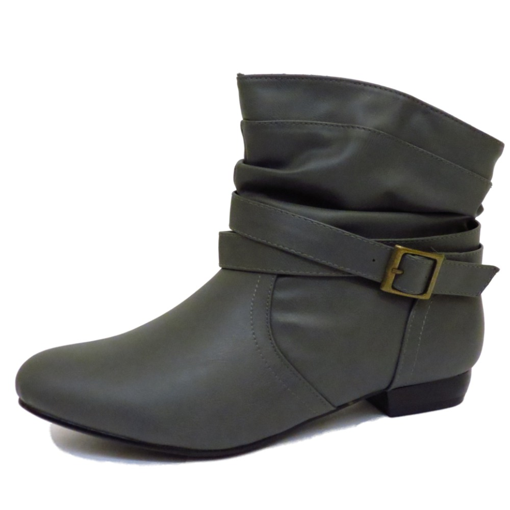 8fb4463b2c801 LADIES FLAT GREY BUCKLE PULL-ON PIXIE BIKER ANKLE SLOUCH BOOTS SHOES ...