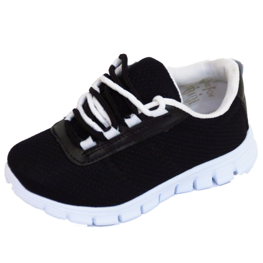 boys childrens black school trainers lace flat