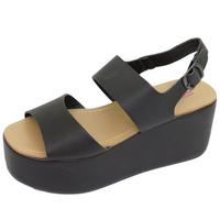 View Item LADIES DOLCIS BLACK FLAT-FORM PLATFORM CHUNKY SANDALS WEDGE SHOES SIZES 3-8