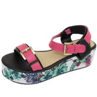 View Item LADIES DOLCIS BLACK FLOWER FLAT-FORM PLATFORM CHUNKY SANDALS WEDGE SHOES UK 3-8