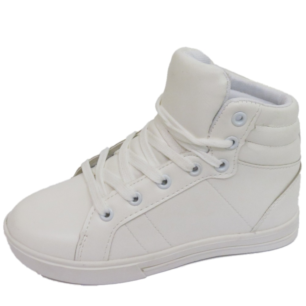 cb83cb6b46f86 GIRLS BOYS CHILDRENS WHITE LACE TRAINERS FLAT BOOTS SCHOOL SHOES ...