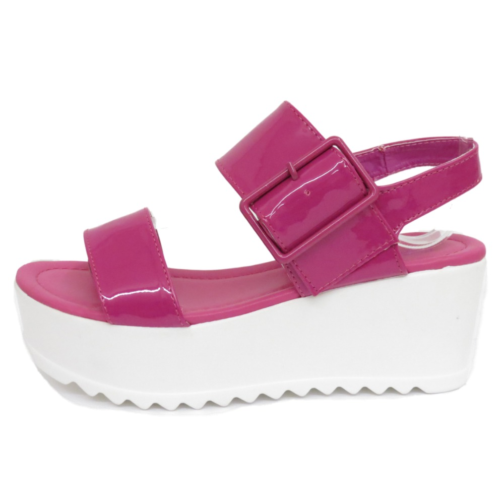 7b07f03ebf6 Details about LADIES DOLCIS PINK FLAT-FORM PLATFORM CHUNKY SANDALS WEDGE  SHOES SIZES 3-8