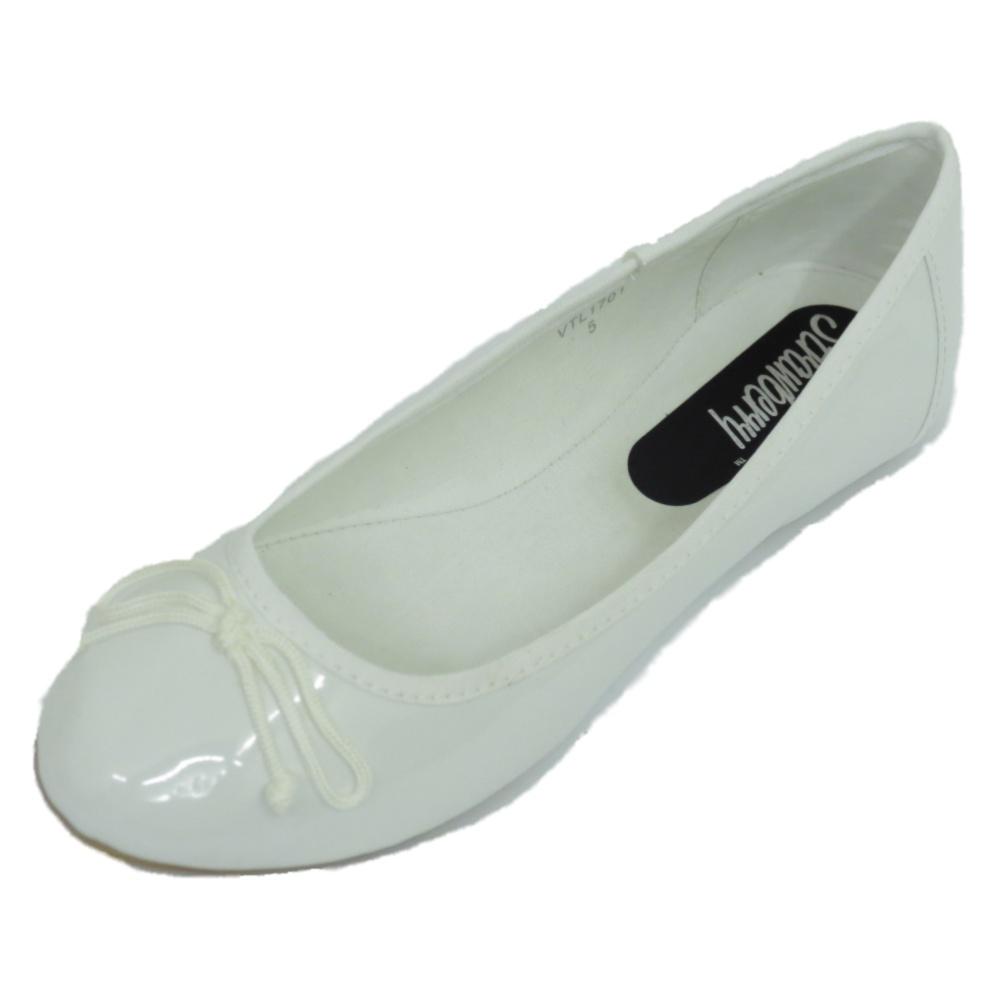 0b160b2cf8c4 WOMENS LADIES WHITE PUMP DOLLY FLAT BALLET PATENT BOW BALLERINA ...