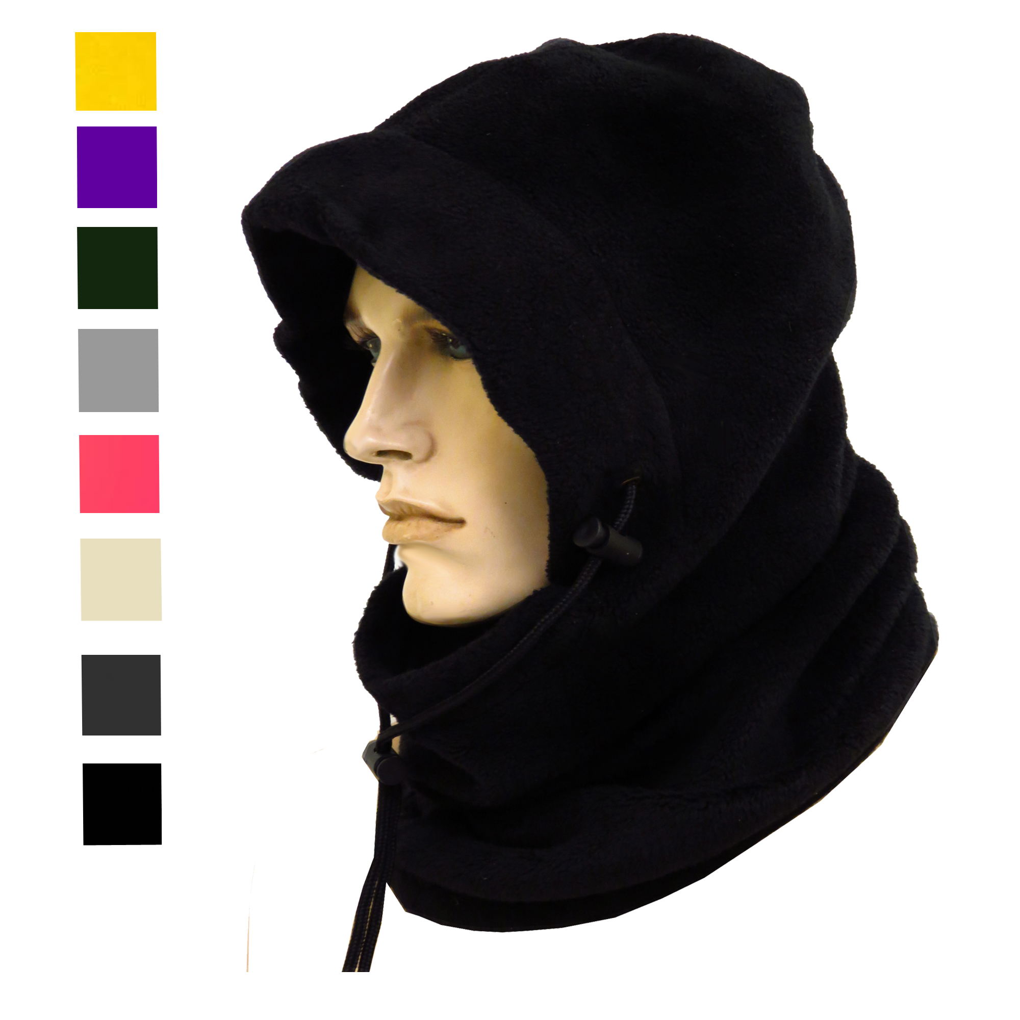4 IN 1 THERMAL FLEECE SNOOD HOOD BALACLAVA NECK-WARMER WINTER HAT ... dc368d32d39