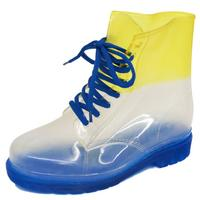 View Item LADIES FLAT BLUE CLEAR FESTIVAL JELLY WELLIES LACE-UP RAIN ANKLE BOOTS SHOES 4-8