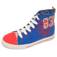 View Item GIRLS KIDS CHILDRENS BLUE CANVAS HI-TOP LACE-UP BOOTS TRAINER SHOES PUMPS UK 1-6