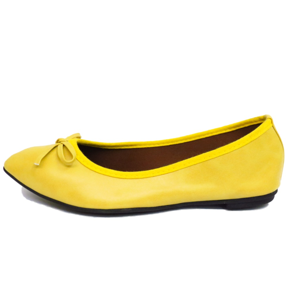 b142ea6bf LADIES FLAT YELLOW SLIP-ON SHOES DOLLY COMFY BALLET BALLERINA CASUAL ...