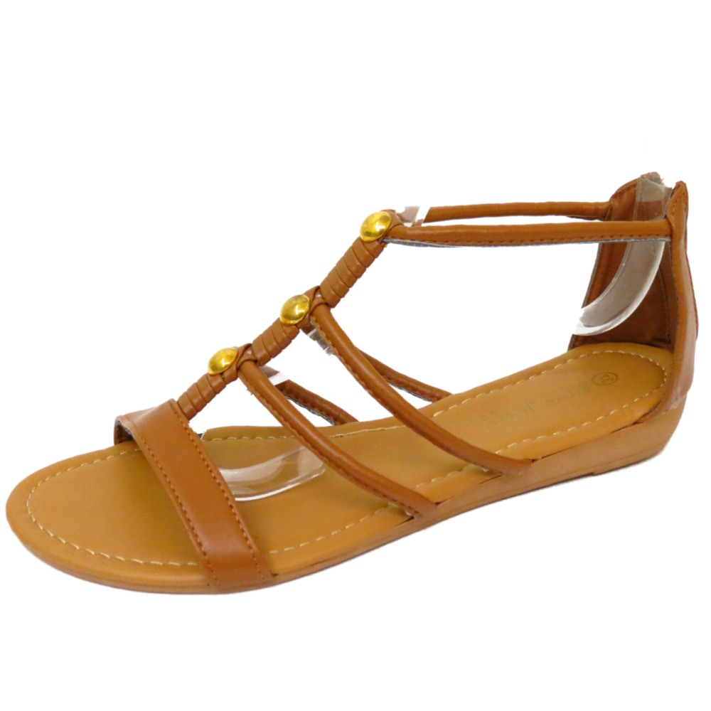 eb8e24da3cb654 LADIES FLAT TAN GLADIATOR COMFY FLIP-FLOP SHOES SUMMER BEACH ZIP ...