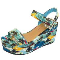 68a01a970c00 View Item LADIES DOLCIS BLUE WEDGES PLATFORM SANDALS PEEP-TOE HOLIDAY  SUMMER SHOES UK 3
