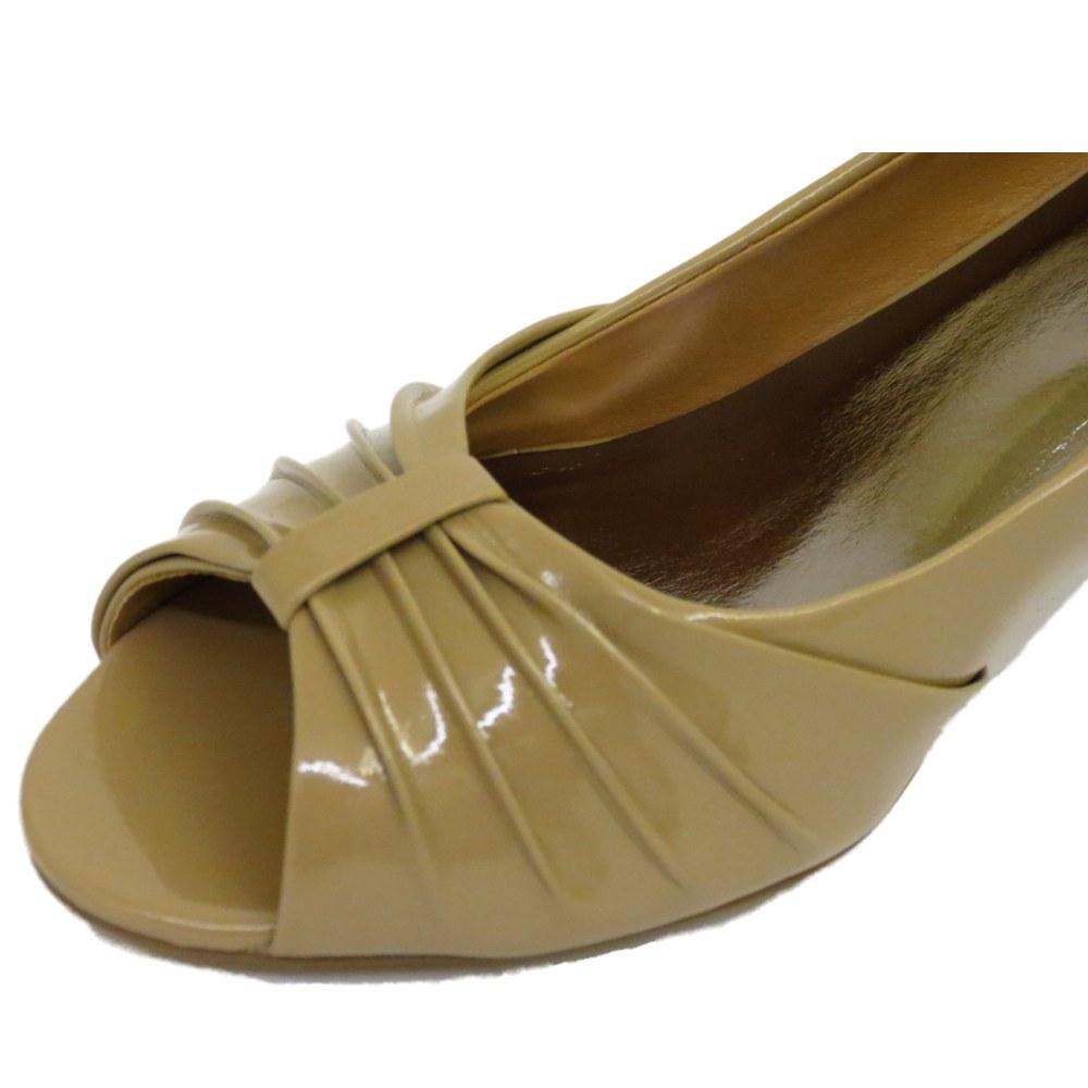 Ladies Nude patente sin puntera Slip-en el tribunal de Tacón Bajo Gatito Trabajo Zapatos Tallas 3-8