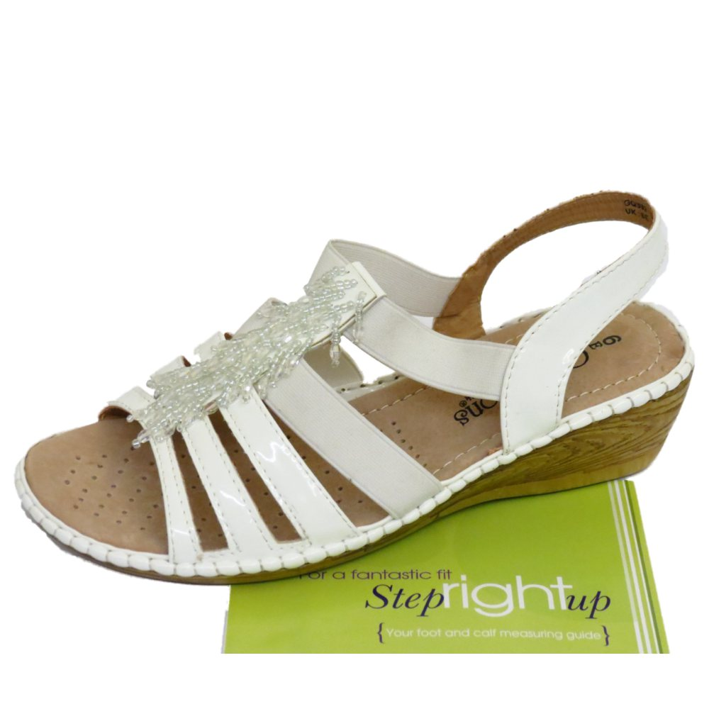 c8d282aa53b LADIES WHITE STRAPPY ELASTIC WEDGE COMFORT WIDE FIT EEE SANDALS ...