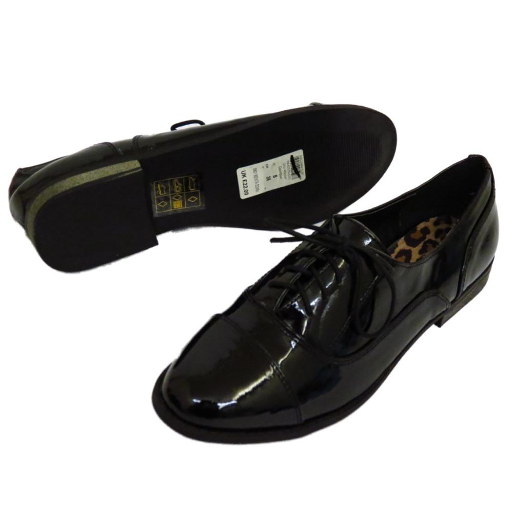 Ladies Patent Brogue Shoes