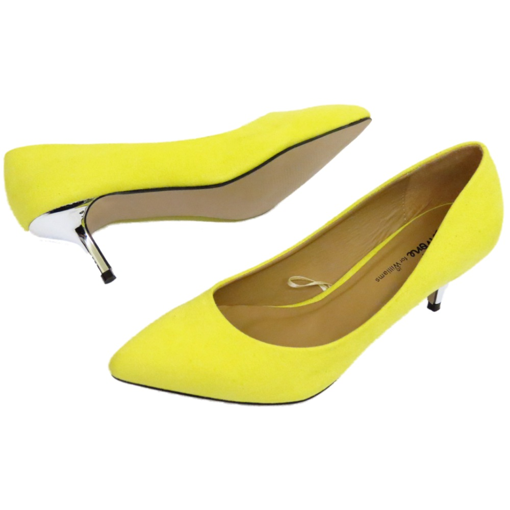872e0144b344 Sentinel LADIES YELLOW LOW KITTEN HEEL SLIP-ON COURT POINTY SHOES WORK PUMPS  SIZES 4-