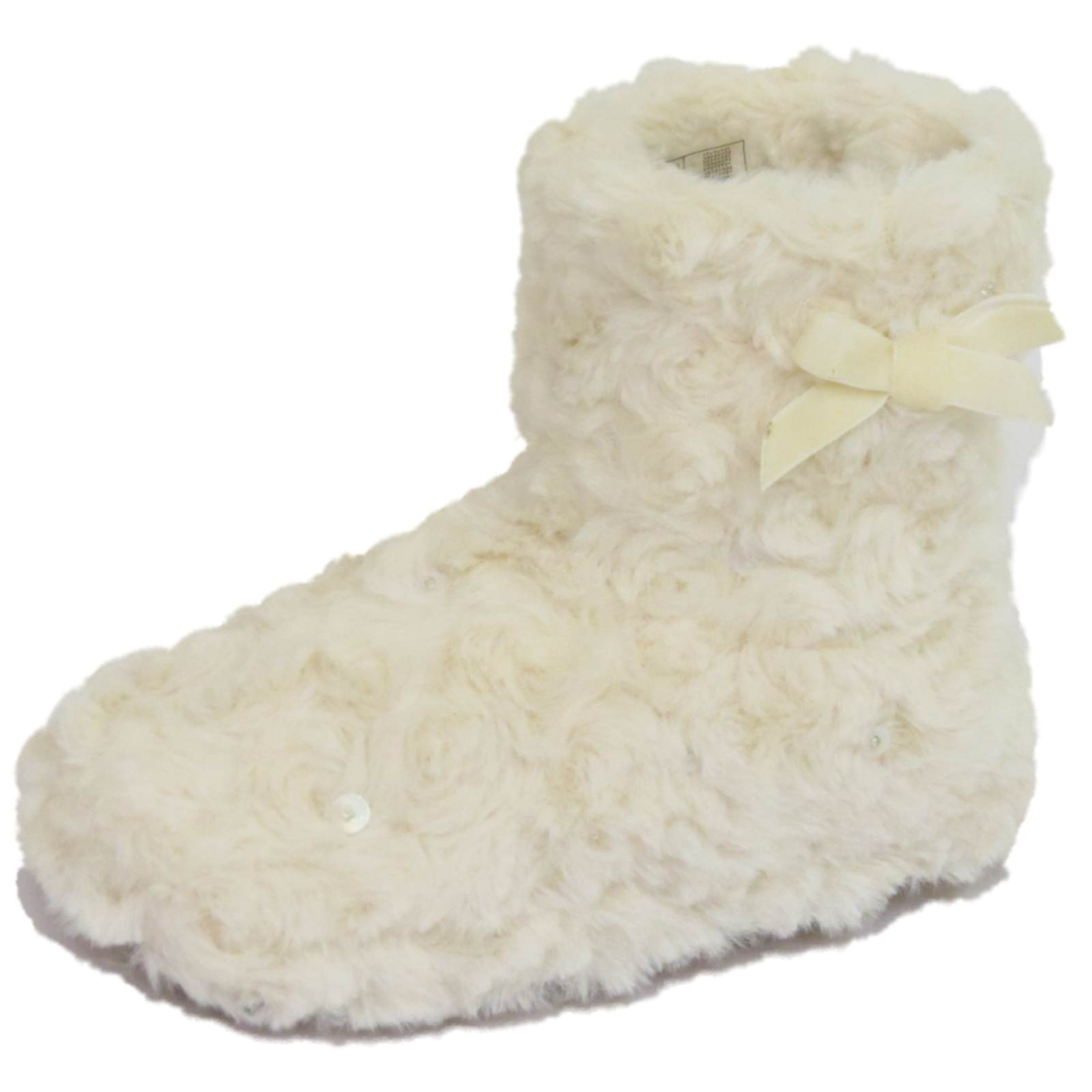 a1e7a4cd3 GIRLS CHILDRENS KIDS FLAT CREAM PULL-ON FLUFFY SLIPPER BOOTS BOOTIES ...