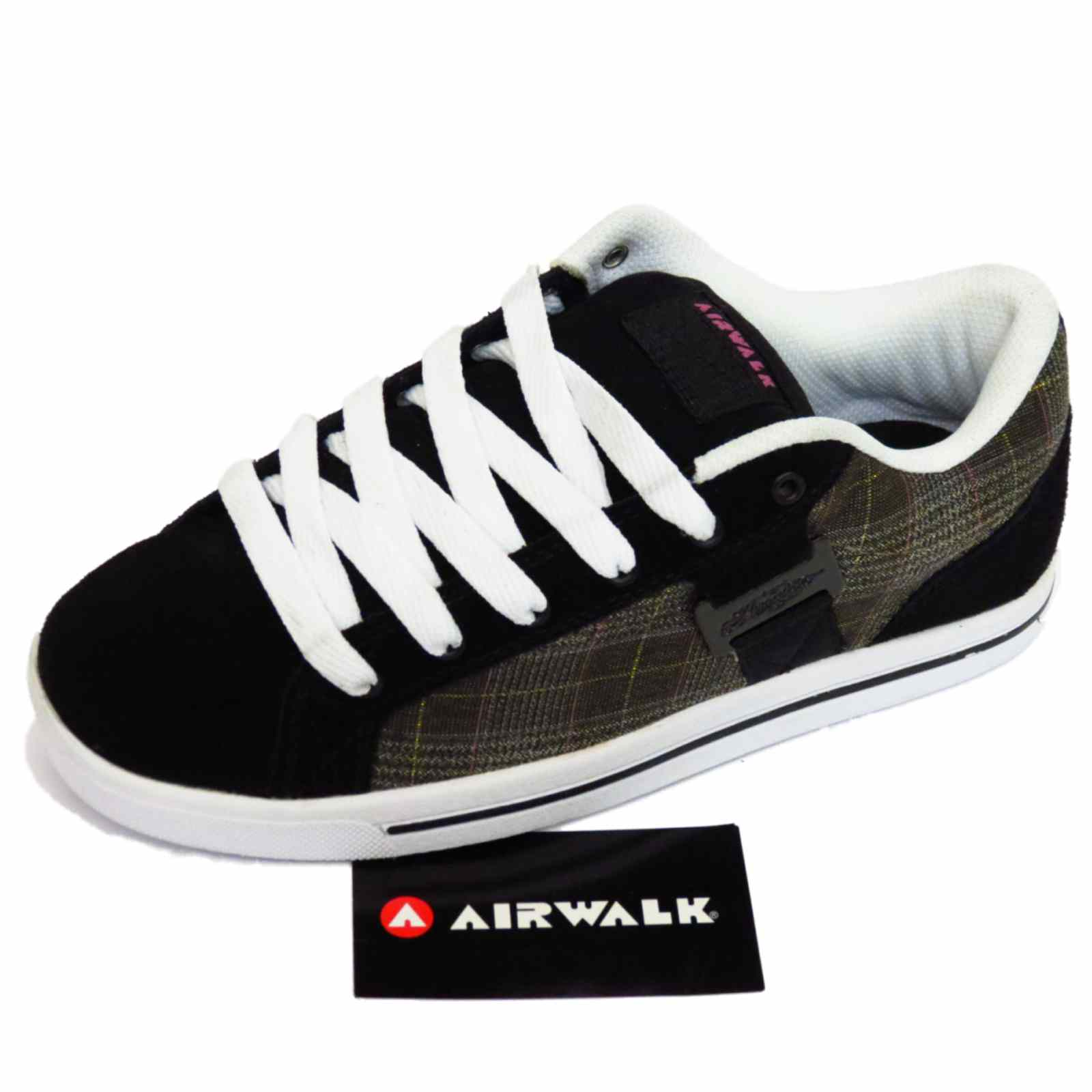 Sentinel LADIES BLACK LEATHER AIRWALK LACE-UP SKATER TRAINERS CASUAL SHOES  PUMPS UK 6-9 33cad876c