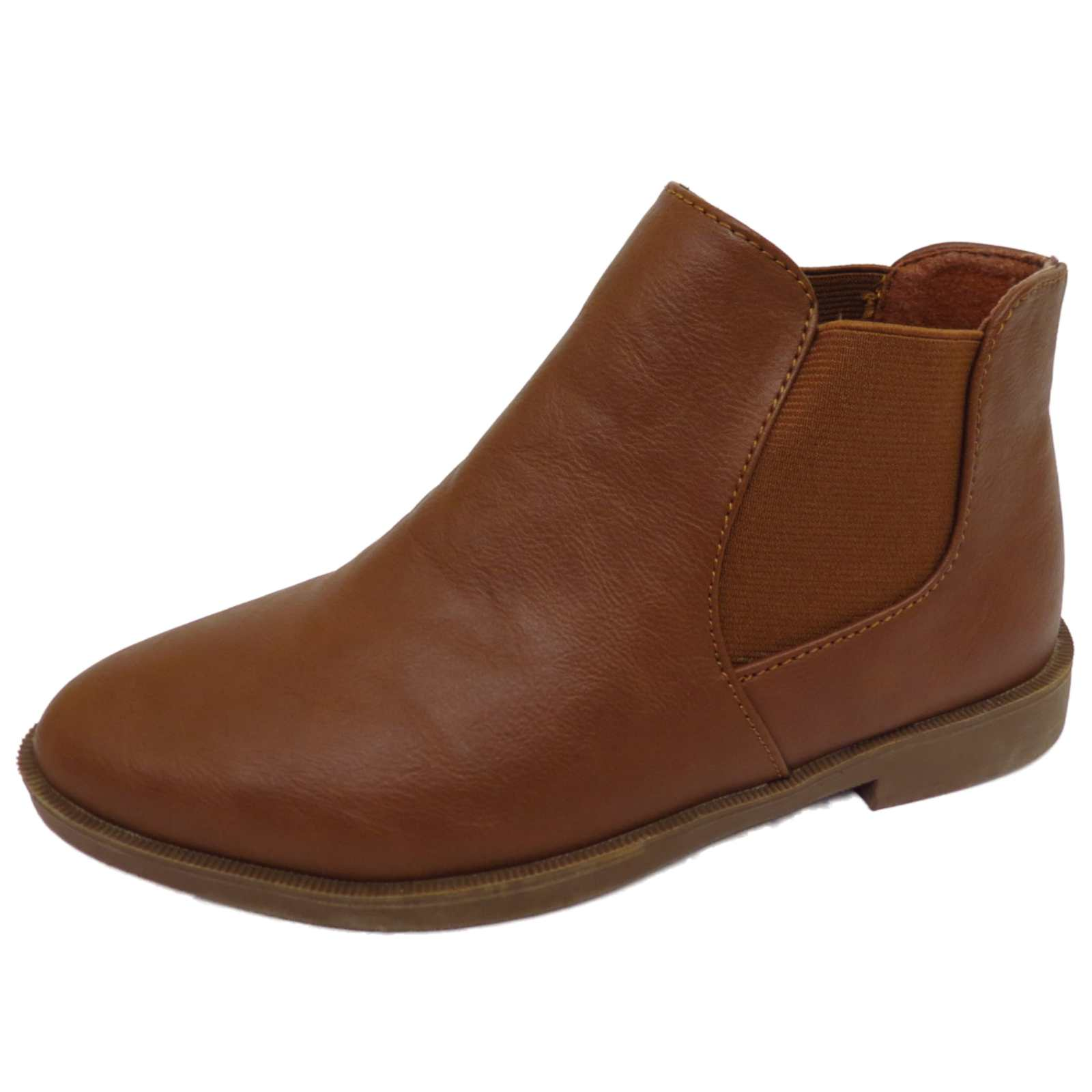LADIES FLAT TAN PULL-ON BIKER ANKLE CHELSEA DEALER CASUAL BOOTS WORK SHOES 3-8
