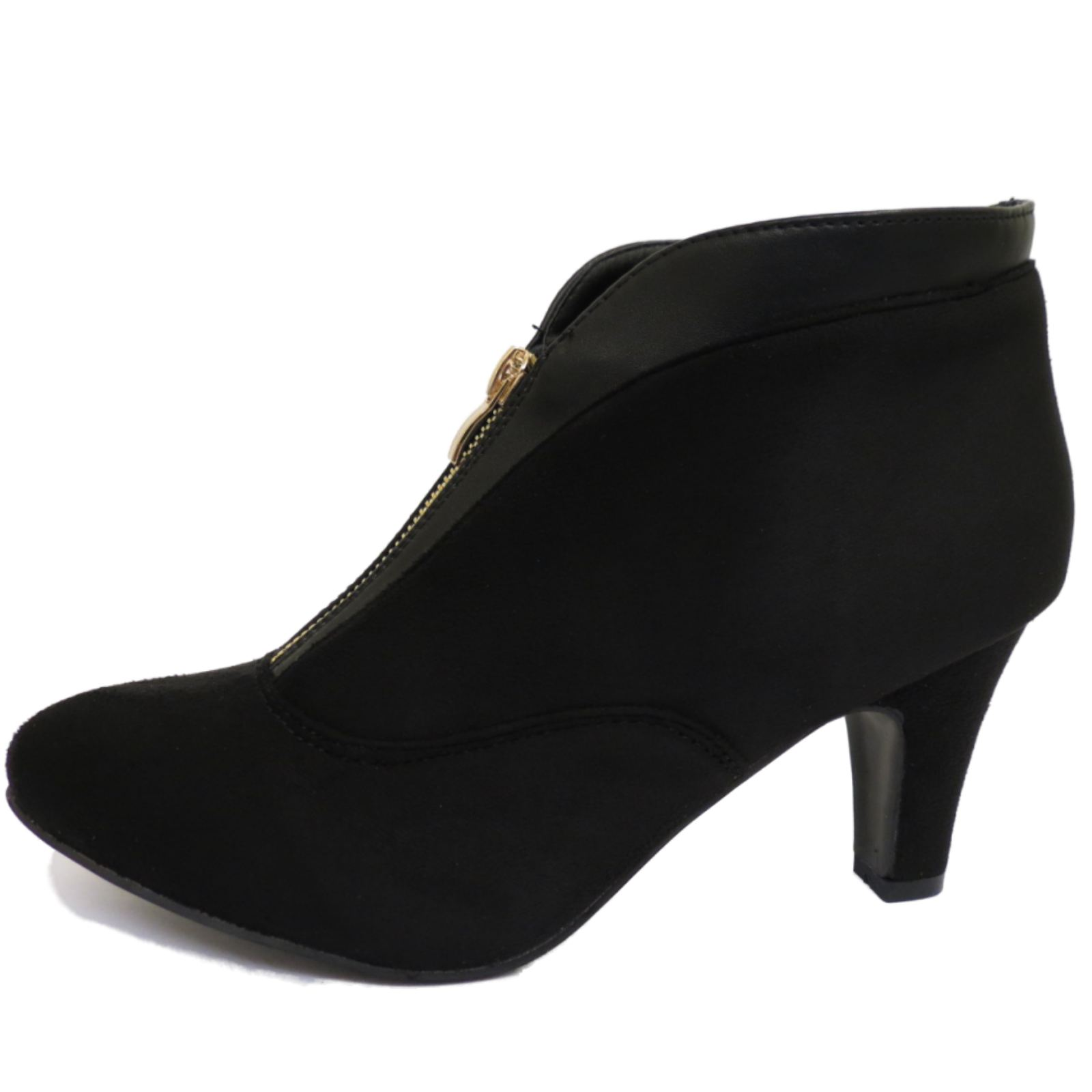 c9eb5426506 Details about LADIES BLACK ZIP-UP KITTEN LOW HEEL FAUX-SUEDE ANKLE BOOTS  WORK SHOES SIZES 4-8